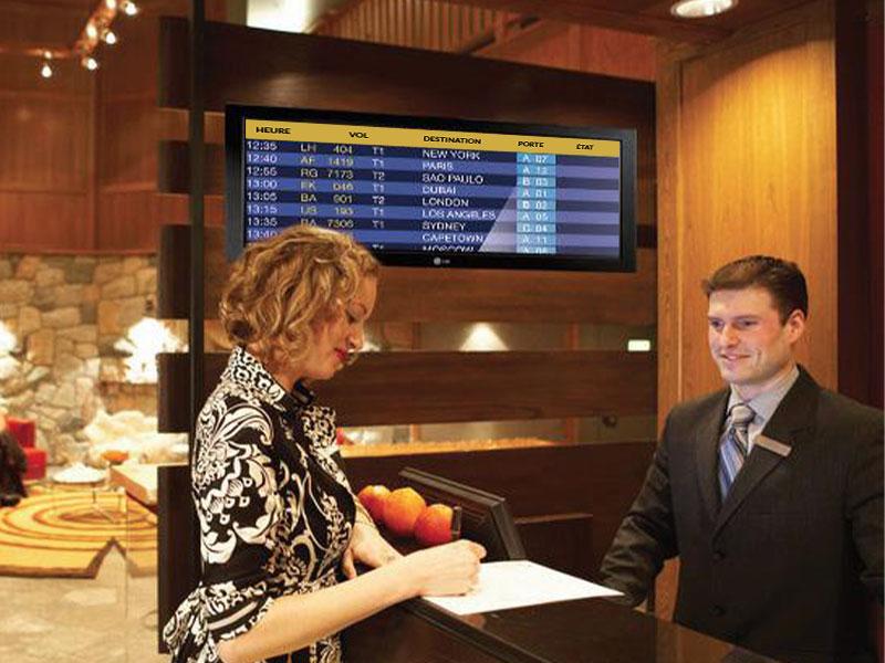 Affichage dynamique hotellerie écran intérieur