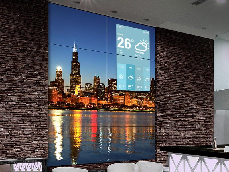Affichage dynamique hôtellerie écran météo