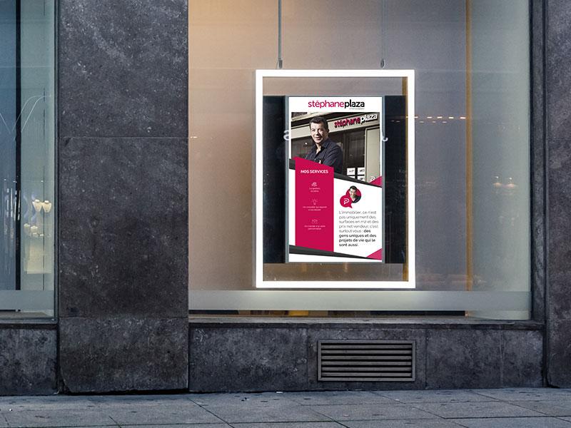 Affichage dynamique secteur immobilier écran vitrine