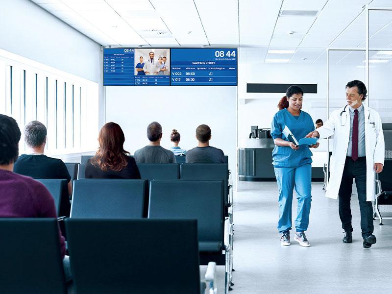 Affichage dynamique secteur santé intérieur salle d'attente