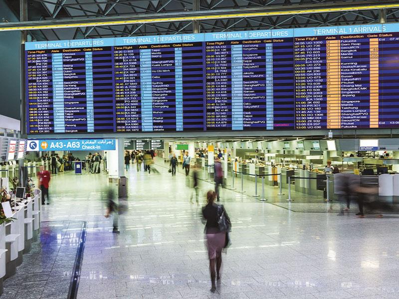 Affichage dynamique transport écran aéroport
