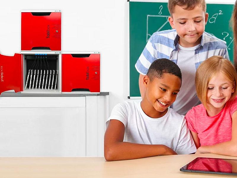 Classe mobile éducation numérique élève tablette.casier recharge