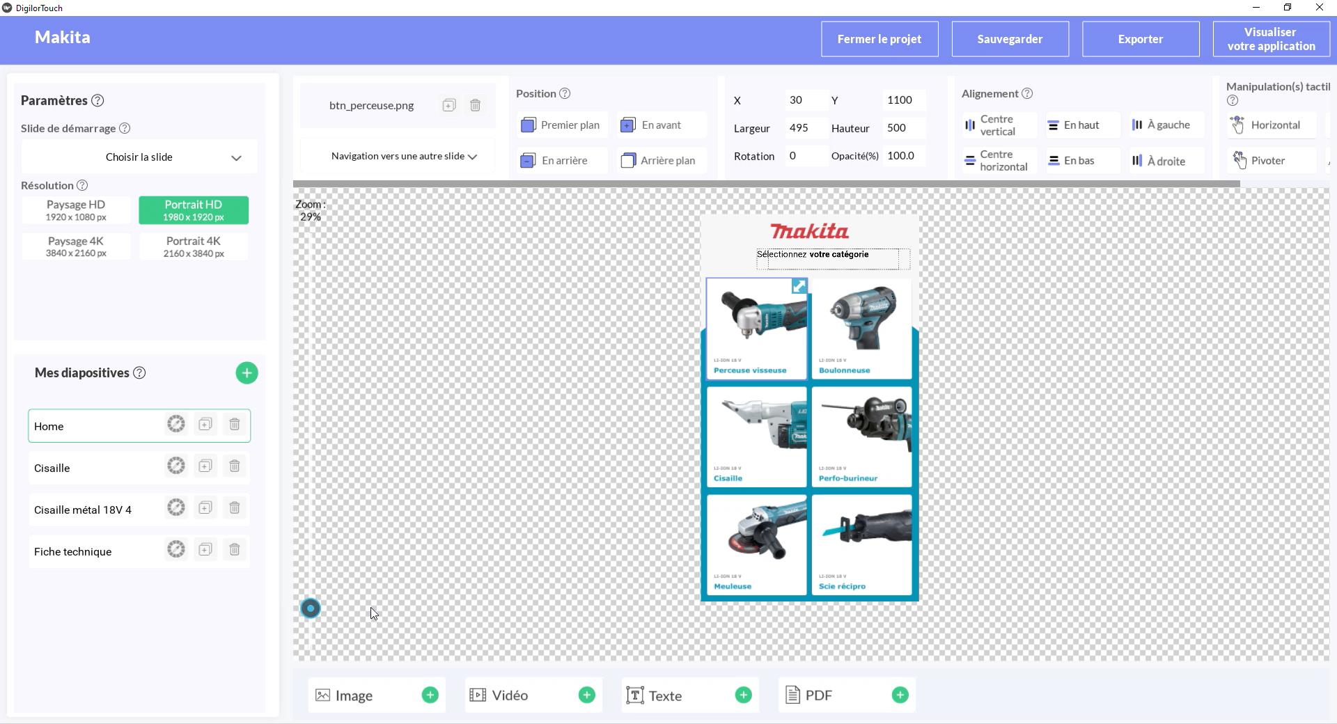 Digilor Touch Création d'applications tactiles - Back Office Applications format portrait ou paysage