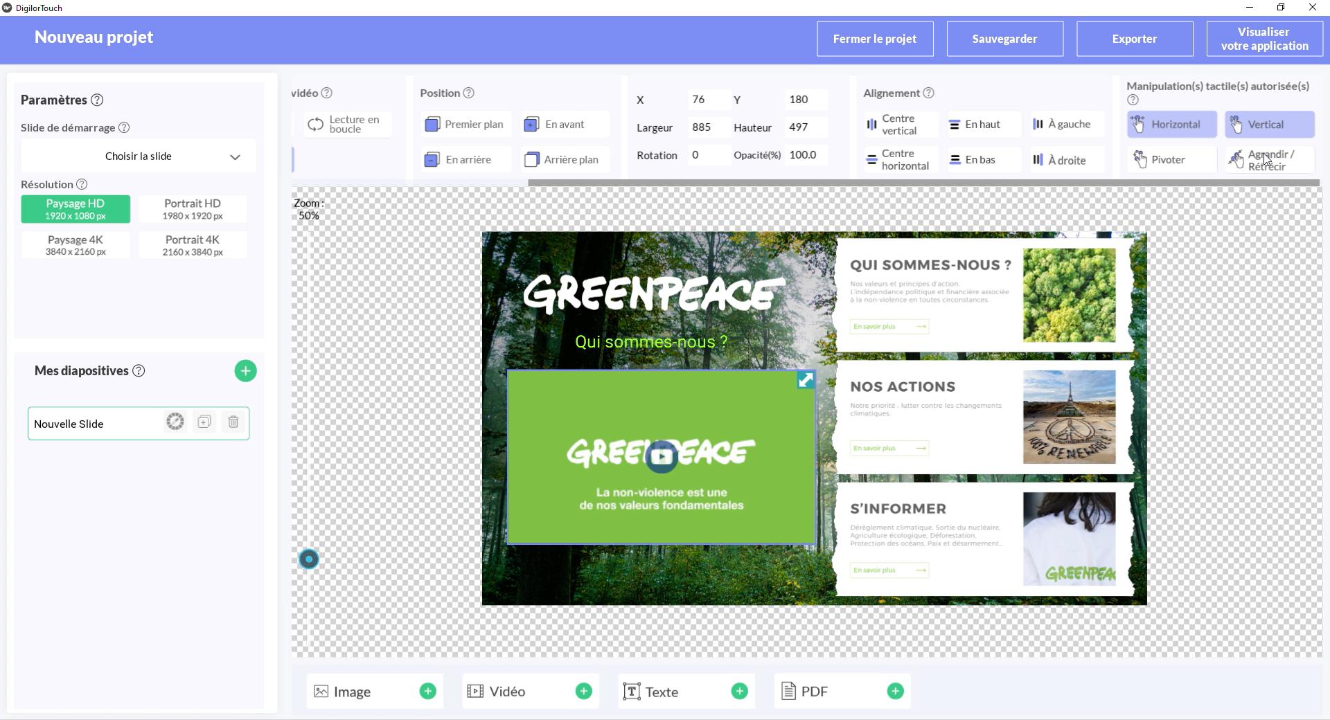Digilor Touch Création d'applications tactiles - Back Office Personnaliser vos présentations