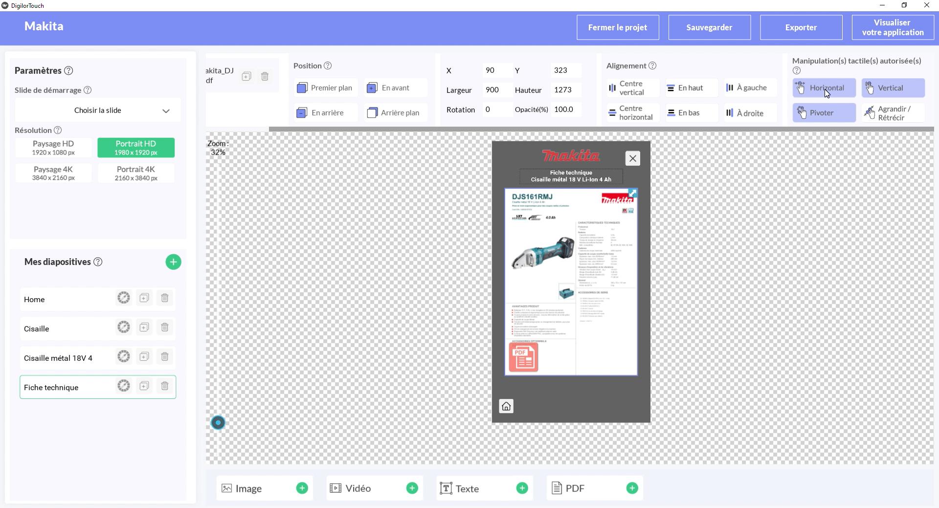Digilor Touch Création d'applications tactiles - Back Office Fonctionnalités tactiles