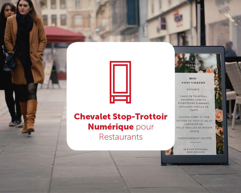 Chevalet stop trottoir numérique pour Restaurants